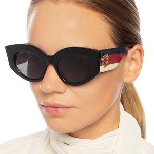 NWT GUCCI GG0276S Black Gold Logo Sunglasses